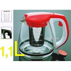 Dzbanek zaparzacz szkło kawy herbaty ziół czerwony