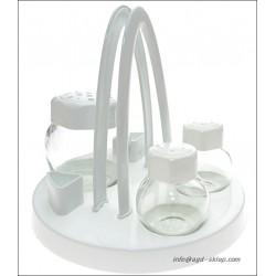 Zestaw do przypraw stołowy 4el. biały szkło
