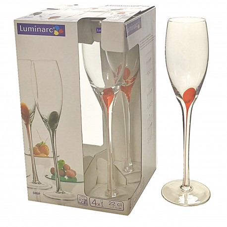 Luminarc 4-kieliszki do szampana Drip Rouge 22cl