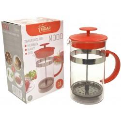 Dzbanek zaparzacz tłokowy do herbaty, ziół czerwony 1L
