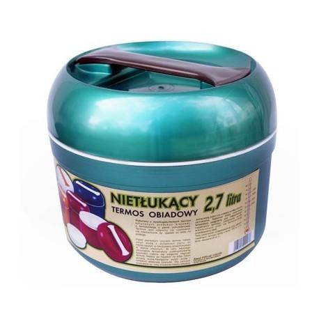 Termos obiadowy nietłukący 2,7L zielony metalik