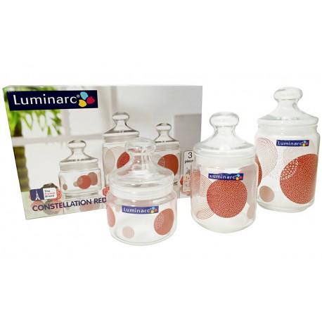 Słoiki hermetyczne do żywności 3szt Luminarc Red