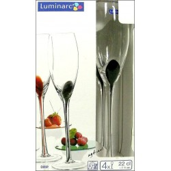 LUMINARC 4-kieliszki do szampana DRIP NOIR 22cl