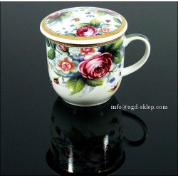 KUBEK DO ZIÓŁ, herbaty z sitkiem do zaparzania - paw kwiaty motyle